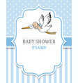 baby shower boy stork with a baby vector image vector image