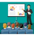 Businessman making presentation vector image vector image