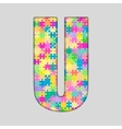 Color Piece Puzzle Jigsaw Letter - U vector image vector image