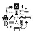 composition icons set simple style vector image vector image