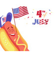 cute cartoon hot dog with usa flag happy vector image vector image