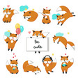 cute fox icon set isolated vector image vector image