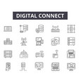 digital connect line icons for web and mobile vector image