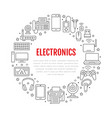 electronics circle poster with flat line icons vector image