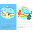 famous india symbols on set of bright posters vector image vector image