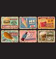 fast food retro tin signs burger drinks dessert vector image vector image