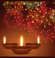 fireworks background with diwali diya vector image vector image