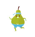funny green pear running sportive fruit cartoon vector image
