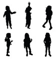 girl silhouette cute in various poses vector image vector image