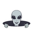happy alien peeps out from hole space vector image vector image