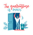 happy man run from his home after long quarantine vector image vector image