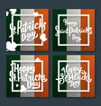 happy saint patricks day lettering on flag set vector image vector image