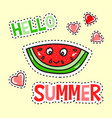 hello summer poster with funny watermelon vector image