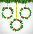 holly frames on golden ribbons vector image