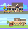 horizontal banners set with houses vector image vector image