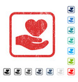 love heart offer hand icon rubber watermark vector image vector image