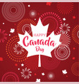 maple leaf with firework poster for celebrate the vector image vector image
