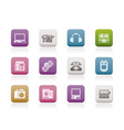 media and technical equipment icons vector image vector image