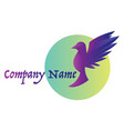 minimalistic purple bird inside light green vector image vector image