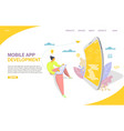 mobile app development website landing page vector image vector image