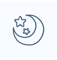 Moon and stars sketch icon vector image vector image