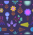 nice dark pattern with flat simple color flowers vector image