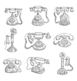 Old retro phones pencil sketch icons vector image