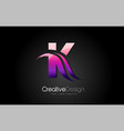 purple violet k letter design brush paint stroke vector image vector image