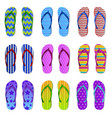 realistic color flip flops rubber bright summer vector image vector image