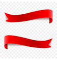 realistic red glossy ribbons on a vector image