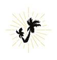retro palm silhouette logo vector image