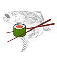 salmon and rolls with chopsticks vector image vector image