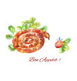 sausage snail grill watercolor isolated on white vector image vector image
