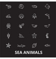 sea animals editable line icons set on vector image