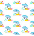 spring flowers under umbrella seamless pattern vector image