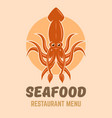 squid logo concept for seafood restaurant menu vector image vector image
