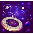 star background with clock and zodiac signs vector image vector image
