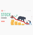 stock exchange landing page template business vector image