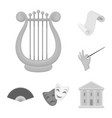 theatrical art monochrome icons in set collection vector image vector image