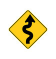 usa traffic road sign winding road aheadbegins vector image