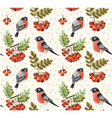 Seamless autumn pattern with bullfinch and rowan vector image