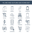 16 gas icons vector image vector image
