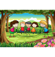A group of kids playing at the forest vector image vector image