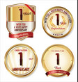 anniversary golden labels collection 1 year vector image vector image
