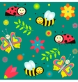background with ladybirds butterflies and bees vector image vector image