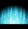 Blue music background with equalizer and notes vector image vector image