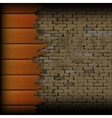 broken wooden planks in the background of a brick vector image