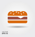 burger sandwich flat icon vector image vector image