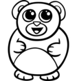 cartoon kawaii bear coloring page vector image vector image