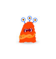 cartoon ugly three-eyes redhead monster isolated vector image